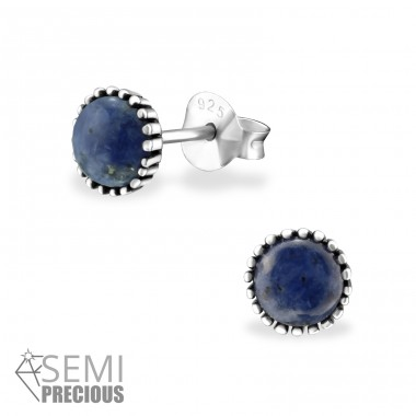 Round - 925 Sterling Silver Ear Studs with semi-precious stones A4S32469
