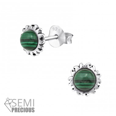 Sun - 925 Sterling Silver Ear Studs with semi-precious stones A4S32471