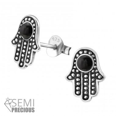 Hamsa - 925 Sterling Silver Ear Studs with semi-precious stones A4S32473