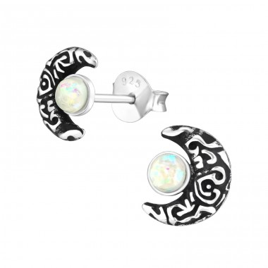 Moon - 925 Sterling Silver Ear Studs with semi-precious stones A4S33739