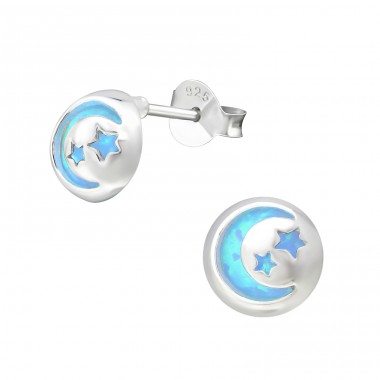 Night Sky - 925 Sterling Silver Ear Studs with semi-precious stones A4S33755