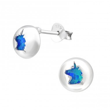 Unicorn - 925 Sterling Silver Ear Studs with semi-precious stones A4S33756