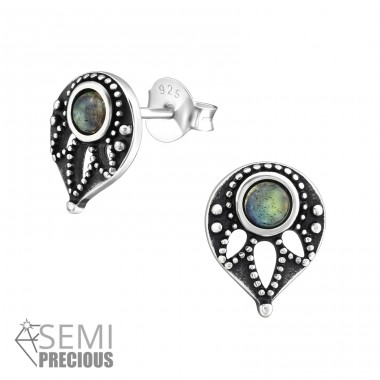 Antique - 925 Sterling Silver Ear Studs with semi-precious stones A4S33855