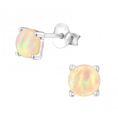 Round - 925 Sterling Silver Ear Studs with semi-precious stones A4S34898
