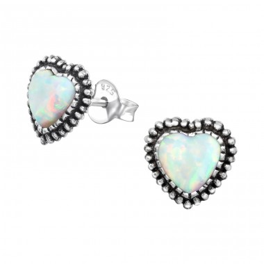 Heart Opal - 925 Sterling Silver Ear Studs with semi-precious stones A4S35086
