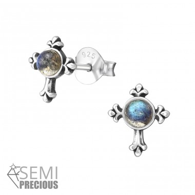 Cross - 925 Sterling Silver Ear Studs with semi-precious stones A4S35232