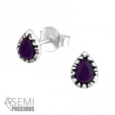 Pear - 925 Sterling Silver Ear Studs with semi-precious stones A4S35234