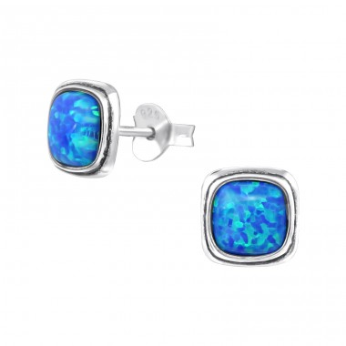 Square - 925 Sterling Silver Ear Studs with semi-precious stones A4S35235