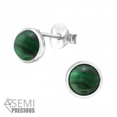 Round - 925 Sterling Silver Ear Studs with semi-precious stones A4S35342