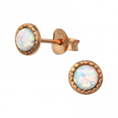 Round Opal - 925 Sterling Silver Ear Studs with semi-precious stones A4S35847