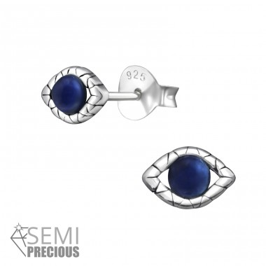 Evil Eyes - 925 Sterling Silver Ear Studs with semi-precious stones A4S36645