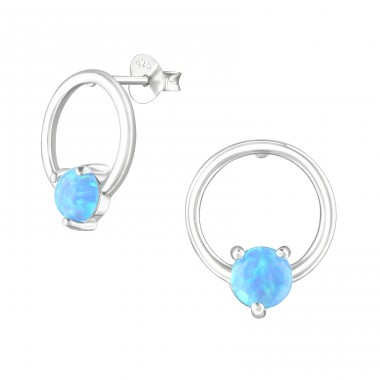 Circle - 925 Sterling Silver Ear Studs with semi-precious stones A4S36794
