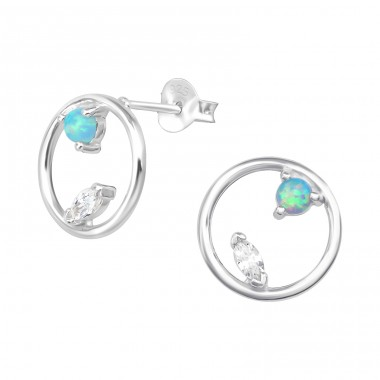 Circle - 925 Sterling Silver Ear Studs with semi-precious stones A4S36795