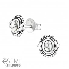 Oval - 925 Sterling Silver Ear Studs with semi-precious stones A4S36905