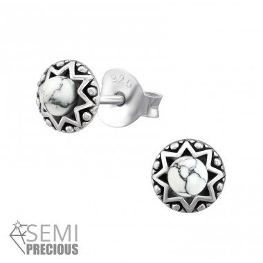 Round - 925 Sterling Silver Ear Studs with semi-precious stones A4S36906