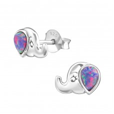 Elephant - 925 Sterling Silver Ear Studs with semi-precious stones A4S37214