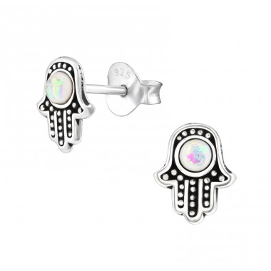 Hamsa - 925 Sterling Silver Ear Studs with semi-precious stones A4S37944