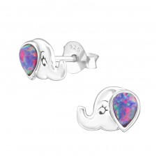 Elephant - 925 Sterling Silver Ear Studs with semi-precious stones A4S38032