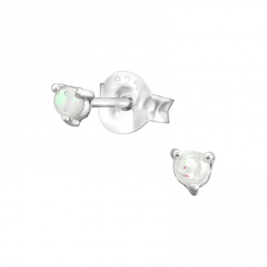 Round 2mm - 925 Sterling Silver Ear Studs with semi-precious stones A4S38109