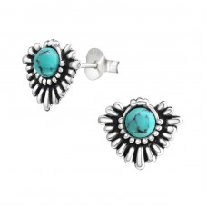 Bali - 925 Sterling Silver Ear Studs with semi-precious stones A4S38303