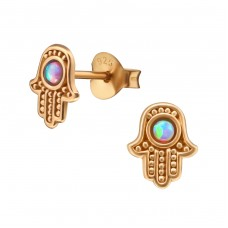 Hamsa - 925 Sterling Silver Ear Studs with semi-precious stones A4S38509