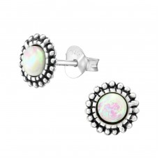 Round - 925 Sterling Silver Ear Studs with semi-precious stones A4S38649