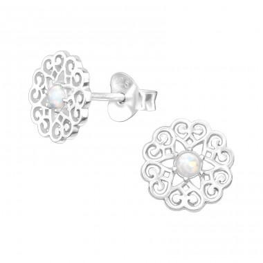 Filigree - 925 Sterling Silver Ear Studs with semi-precious stones A4S38888