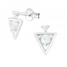 Triangle - 925 Sterling Silver Ear Studs with semi-precious stones A4S39056
