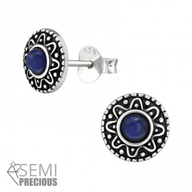 Bali - 925 Sterling Silver Ear Studs with semi-precious stones A4S39194