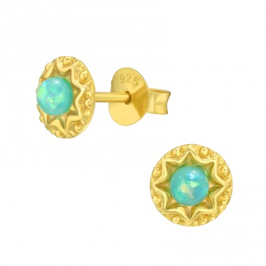 Star with Opal - 925 Sterling Silver Ear Studs With Semi-Precious Stones A4S42106