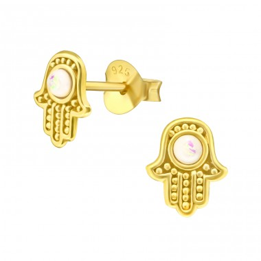 Golden Hamsa with Opal - 925 Sterling Silver Ear Studs With Semi-Precious Stones A4S42107