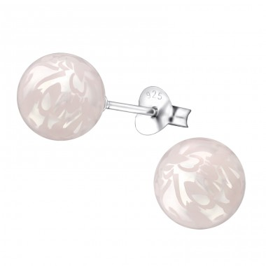 Round - 925 Sterling Silver Ear Studs with Pearls A4S27549