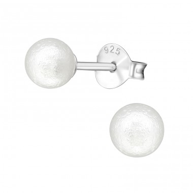 Round - 925 Sterling Silver Ear Studs with Pearls A4S29131