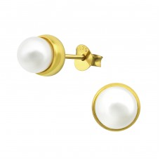Round - 925 Sterling Silver Ear Studs with Pearls A4S31404