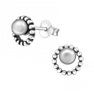 Round - 925 Sterling Silver Ear Studs with Pearls A4S31681