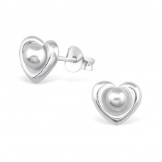 Heart - 925 Sterling Silver + Glass Pearls Ear Studs With Pearls A4S31890