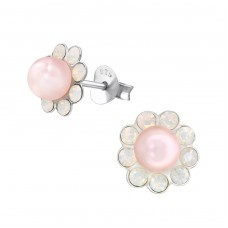 Flower - 925 Sterling Silver Ear Studs with Pearls A4S32022