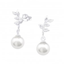 With Pearl - 925 Sterling Silver Ear Studs With Pearls A4S33408