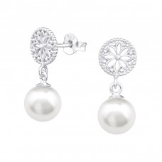 With Pearl - 925 Sterling Silver Ear Studs With Pearls A4S33409