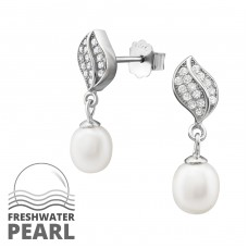 Sparking Leaf - 925 Sterling Silver Ear Studs with Pearls A4S34345