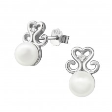 Hearts - 925 Sterling Silver Ear Studs with Pearls A4S34346