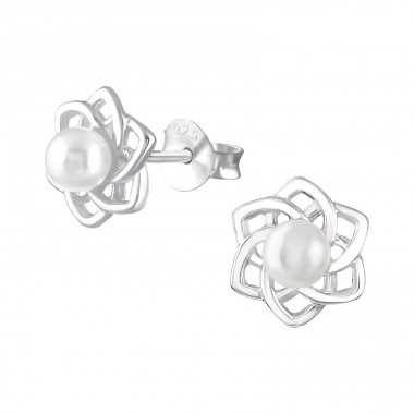 Flower - 925 Sterling Silver Ear Studs with Pearls A4S36798