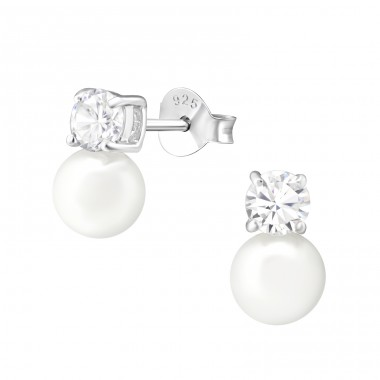Round - 925 Sterling Silver Ear Studs with Pearls A4S37533
