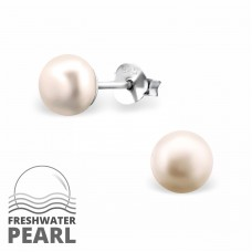 6mm - 925 Sterling Silver Ear Studs with Pearls A4S37698