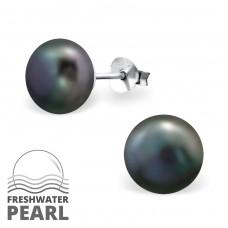 9mm - 925 Sterling Silver Ear Studs with Pearls A4S37701