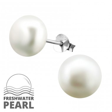 10mm - 925 Sterling Silver Ear Studs with Pearls A4S37702