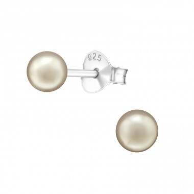 Round 4mm - 925 Sterling Silver Ear Studs with Pearls A4S37704
