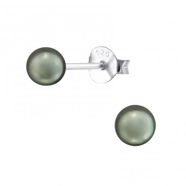 Round 4mm - 925 Sterling Silver Ear Studs with Pearls A4S37706