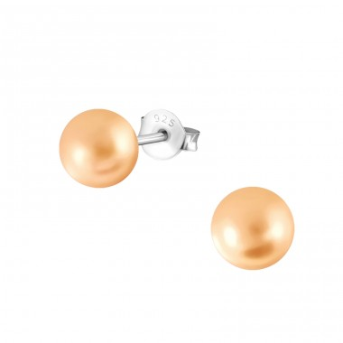 Round 6mm - 925 Sterling Silver Ear Studs with Pearls A4S37709