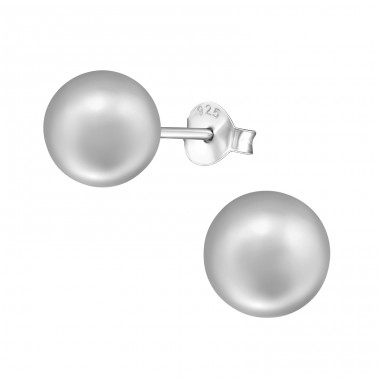 Round 8mm - 925 Sterling Silver Ear Studs with Pearls A4S37710